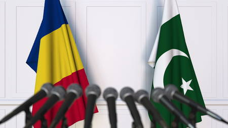 Flags of Romania and Pakistan at international meeting or negotiations press conference. 3D rendering