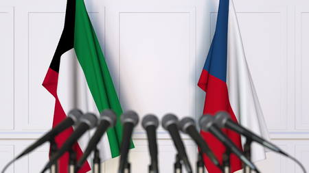 Flags of Kuwait and the Czech Republic at international meeting or negotiations press conference. 3D rendering