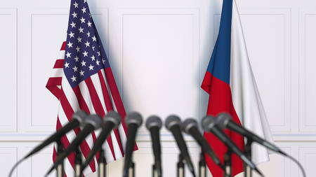 Flags of the United States and the Czech Republic at international meeting or negotiations press conference. 3D rendering