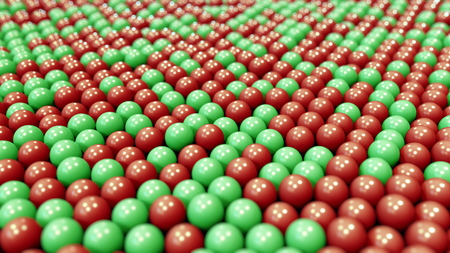 Red and green plastic balls. 3D rendering