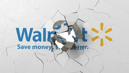 Breaking wall with painted logo of Walmart. Crisis conceptual editorial 3D rendering Editorial
