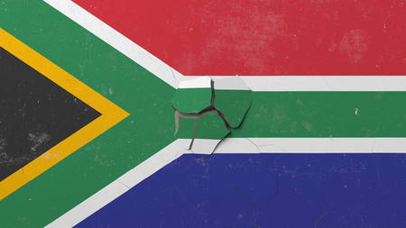Destroying wall with painted flag of South Africa. African crisis conceptual editorial 3D rendering
