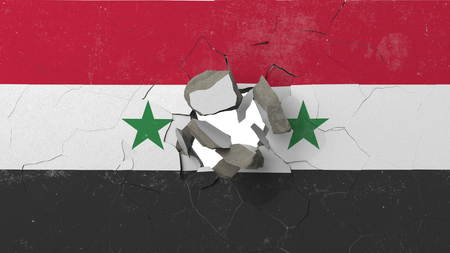 Breaking wall with painted flag of Syria. Syrian crisis conceptual editorial 3D rendering