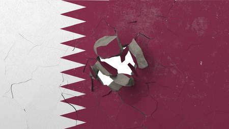 Crushing concrete wall with flag of Qatar. Qatari crisis conceptual editorial 3D rendering