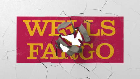 Crushing concrete wall with logo of Wells Fargo. Crisis conceptual editorial 3D rendering