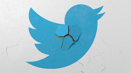 Destroying wall with painted logo of Twitter. Crisis conceptual editorial 3D rendering