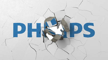 Destroying wall with painted logo of Philips. Crisis conceptual editorial 3D rendering