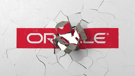 Crushing concrete wall with logo of Oracle. Crisis conceptual editorial 3D rendering