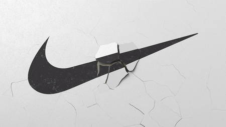Breaking wall with painted logo of Nike. Crisis conceptual editorial 3D rendering Editorial