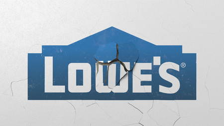 Breaking wall with painted logo of Lowes. Crisis conceptual editorial 3D rendering Editorial