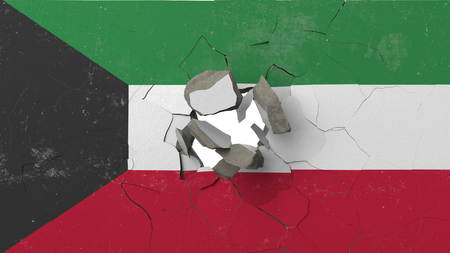 Breaking wall with painted flag of Kuwait. Kuwaiti crisis conceptual editorial 3D rendering
