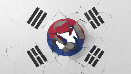 Breaking wall with painted flag of South Korea. South korea crisis conceptual editorial 3D rendering Imagens