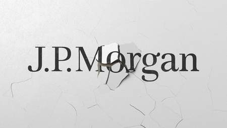 Crushing concrete wall with logo of JPMorgan. Crisis conceptual editorial 3D rendering