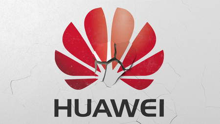 Crushing concrete wall with logo of Huawei. Crisis conceptual editorial 3D rendering