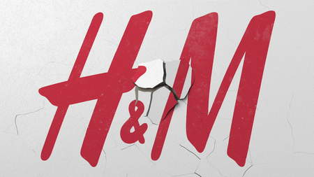 Crushing concrete wall with logo of H&M. Crisis conceptual editorial 3D rendering