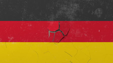 Breaking wall with painted flag of Germany. German crisis conceptual editorial 3D rendering
