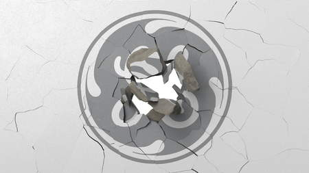 Destroying wall with painted logo of General Electric. Crisis conceptual editorial 3D rendering