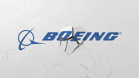 Destroying wall with painted logo of Boeing. Crisis conceptual editorial 3D rendering