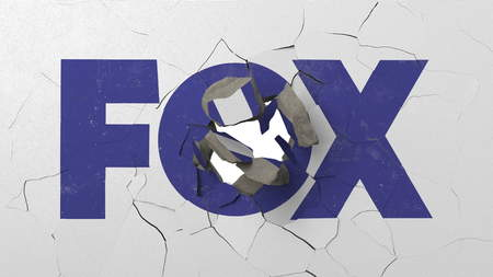 Breaking wall with painted logo of Fox. Crisis conceptual editorial 3D rendering