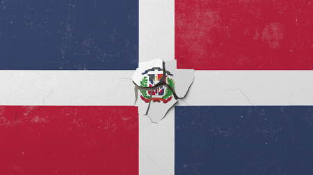 Breaking wall with painted flag of Dominican Republic. Dominicana crisis conceptual editorial 3D rendering
