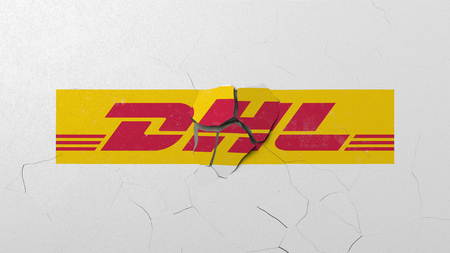 Breaking wall with painted logo of DHL. Crisis conceptual editorial 3D rendering Editorial