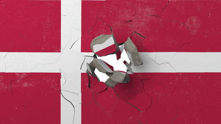 Destroying wall with painted flag of Denmark. Danish crisis conceptual editorial 3D rendering