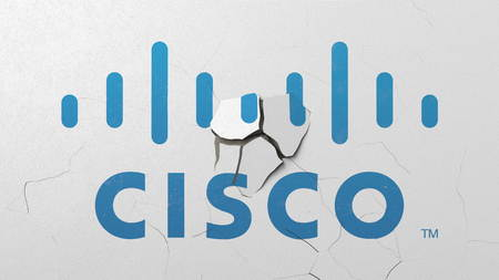 Breaking wall with painted logo of Cisco. Crisis conceptual editorial 3D rendering