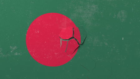 Breaking wall with painted flag of Bangladesh. Bangladeshi crisis conceptual editorial 3D rendering
