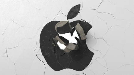 Crushing concrete wall with logo of Apple Inc. Crisis conceptual editorial 3D rendering 報道画像