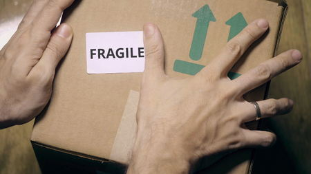Marking box with FRAGILE label