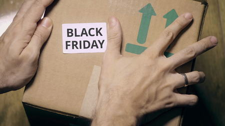 Marking box with BLACK FRIDAY label