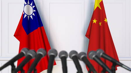 Flags of Taiwan and China at international meeting or negotiations press conference. 3D rendering