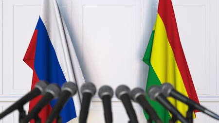 Flags of Russia and Bolivia at international meeting or negotiations press conference. 3D rendering