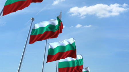 Many waving flags of Bulgaria. 3D rendering