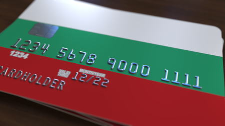 Plastic card with flag of Bulgaria. Bulgarian banking system conceptual 3D rendering