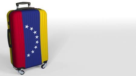 Travelers suitcase with flag of Venezuela. Venezuelan tourism conceptual 3D rendering, blank space for caption