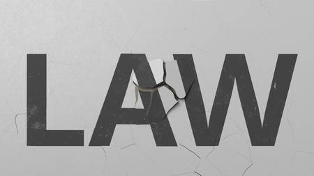 Breaking concrete wall with painted LAW word. Conceptual 3D rendering