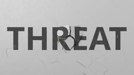 Breaking concrete wall with painted THREAT word. Conceptual 3D rendering