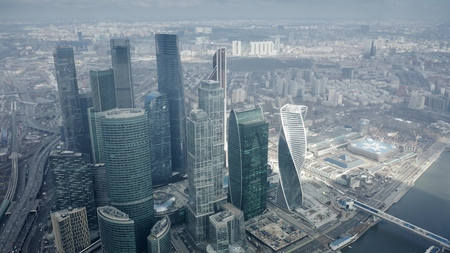 MOSCOW, RUSSIA - MARCH 23, 2019. Aerial view of the skyscrapers of International Business Center and Expocentre buildings Editorial