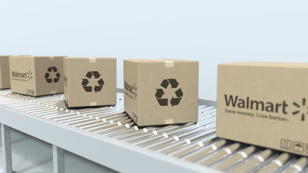WALMART logo on moving boxes on roller conveyor. Editorial 3D rendering