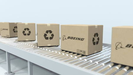 Cartons with BOEING logo move on roller conveyor. Editorial 3D rendering