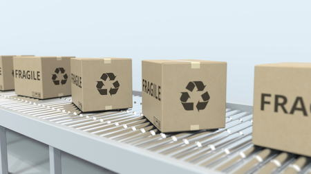 Boxes with FRAGILE text on roller conveyor. 3D rendering