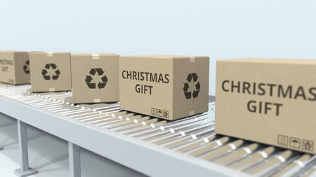 Boxes with CHRISTMAS GIFT text on roller conveyor. 3D rendering