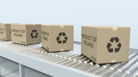 Boxes with PRODUCT OF POLAND text on roller conveyor. Polish import or export related 3D rendering