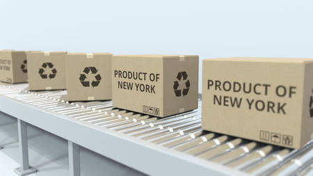Boxes with PRODUCT OF NEW YORK text on roller conveyor. Import or export related 3D rendering