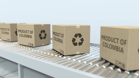 Boxes with PRODUCT OF COLOMBIA text on roller conveyor. Colombian import or export related 3D rendering
