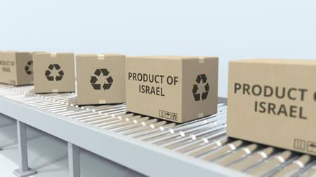 Boxes with PRODUCT OF ISRAEL text on roller conveyor. Israeli import or export related 3D rendering