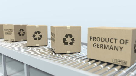 Boxes with PRODUCT OF GERMANY text on roller conveyor. German import or export related 3D rendering