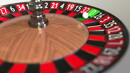Casino roulette wheel ball hits zero. 3D rendering