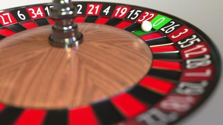 La bola de la rueda de la ruleta del casino llega a cero. Representación 3D
